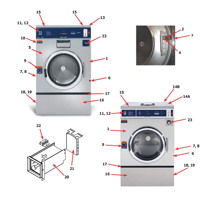 Dexter T-950 Express Vended Washer - Cabinet and Front Panel