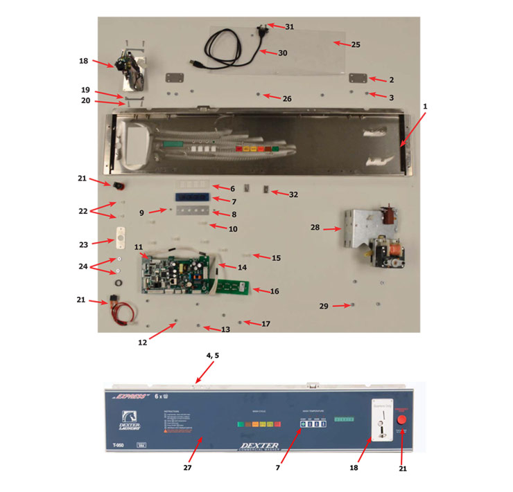 Dexter SWD Washer - Front Panel Control Group