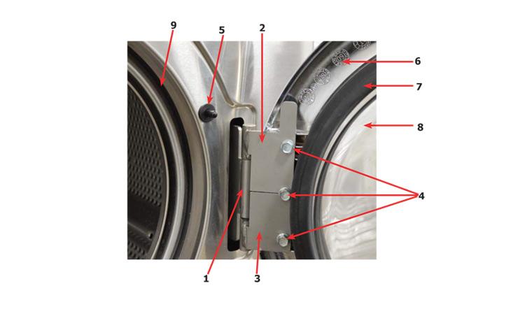Dexter T 400 Vended Washer   Loading Door Hinge 180 Degree Opening