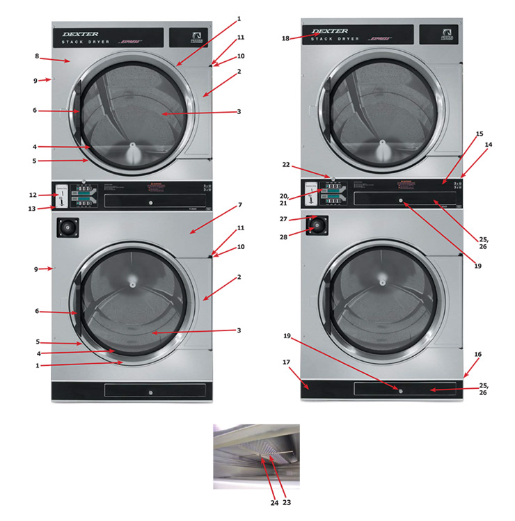 Dexter 30X2 Stacked Dryer - Cabinet Group